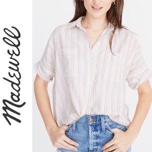 Madewell Courier Shirt in Stripe Rainbow Stitch